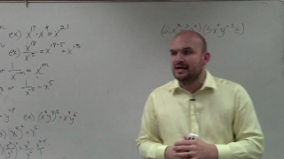 Apply the product rule to simplify an expression of exponents